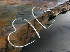 Handmade Jewelry - Silver heart hoop earrings.