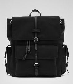 Mens Black Textured Backpack - Reiss Sydney
