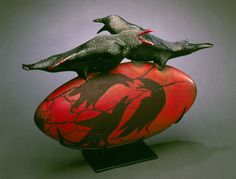 "Vessel with Crows (1998) by William Morris 17""x25""x8""  Blown glass, steel stand  Photo: Rob Vinnedge"