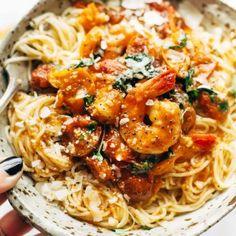 Garlic Butter Capellini Pomodoro with Shrimp - simple prep, easy ingredients: capellini pasta, shrimp, garlic, butter, basil, and fresh tomatoes. Ready in 30 minutes! #quickdinner #recipe #easyrecipe #yum #fastrecipe | pinchofyum.com