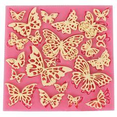 Diy flower butterfly tapete de encaje de silicona moldes fondant sugarcraft decoración de pasteles herramientas ct684