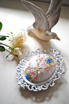 Pin cushion made from a picture frame