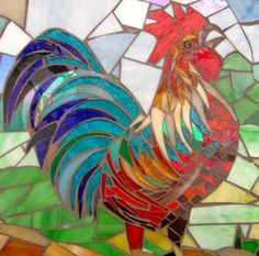 Cock-a-Doodle-Doo  Crowing Rooster Mosaic
