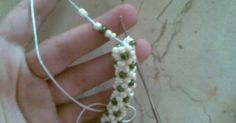 I have made this bracelet too using cotton thread size 20, and beads size 6. But this bracelet is actually two rows. I have taught myself ...