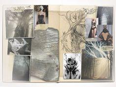Fashion Sketchbook - fashion design development - trees & textures; research, ideas & sketches; fashion portfolio