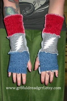 Grateful Dead Arm Warmers WonderPhil 13 pt Bolt by gr8fuldreadgrrl, $25.00