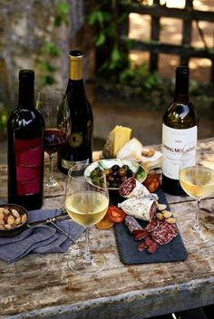 Charcuterie and Wine, wonderful table.