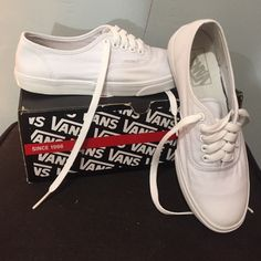 White Authentic Lo Pro Vans They are a size 4.5 in Men's which is equivalent to 6 in Women's. They have minor staining as shown in the pictures, though, I have cleaned them to the best of my abilities. Vans Shoes Sneakers