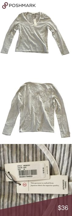 🆕AG Adriano Goldschmied Long-Sleeve Striped Top If you're seeking out AG Adrian Goldschmied then you're already in the know! High-quality lifestyle jeans-wear from the founder of premium denim! Adriano Goldscmied created Diesel, Replay, and Gap 1969, so you know you're buying and looking your best when you invest in this line.   This is a beautiful long-sleeved grey and cream-striped top made from Japanese fabric: 70% Lyocell 30% cotton. Super soft to the touch and well made.  PRICED TO…