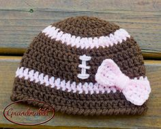 BABY GIRL FOOTBALL Crocheted  Beanie Brown with Pink Hat with Bow Sizes Preemie/ Newborn/ up to 3 Months on Etsy, $16.00