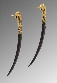 quill earrings: pat flynn: iron & gold earrings - artful home