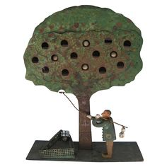 Antique Folk Art Apple Tree Shooting Target from on Ruby Lane Vintage Carnival Games, Metal Targets, Old Toys, Children's Toys, Shooting Targets, Naive Art, Apple Tree, Outsider Art, Toys
