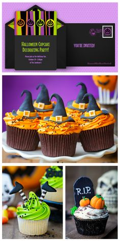 A sweet Halloween cupcakes mood board, inspired by this adorable, free Halloween invitation. Great idea for a kids Halloween party. #punchbowl