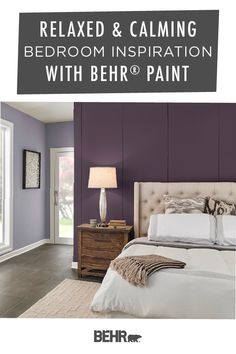 It's easy to add a relaxed and calming style to your master bedroom when you start with a new coat of Behr Paint. Plush Purple, Ultra Pure White, and Aerial View are all a great place to start. Click below to see more paint color palette inspiration. Relaxing Bedroom Colors, Bedroom Paint Colors, Home, Calming Bedroom, Bedroom Design, Bedroom Inspirations, Relaxing Bedroom, Bedroom Color Schemes, Calming Bedroom Colors