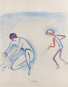 Kees VAN DONGEN (1877-1968) Scène de plage à Deauville, mère et enfants. Aquarelle et gouache sur papier. Signée et située en bas au milieu. 61 x 46 cm. Un avis d'inclusion au catalogue raisonné de l'oeuvre… - Drouot Estimations - 22/11/2017