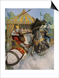 Illustration of Sir Mador Jousting with an Opponent SwitchArt&#8482 Print at AllPosters.com