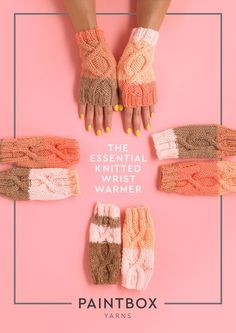 The Essential Knitted Wristwarmers in Paintbox Yarns Christmas Knitting Patterns, Knitting Patterns Free, Free Pattern, Knitting Supplies, Knitting Projects, Yarn Projects, Knit Basket, Universal Yarn, Mittens