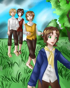 Four hobbits by Rina-from-Shire