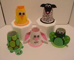 laboratori per bambini  riciclo bicchieri animali tartaruga pulcino ranaconiglio
