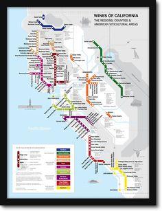 Metro Wine Map of California Framed