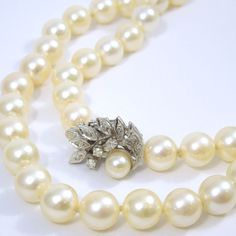30' Strand of 8.5MM Saltwater Pearls Featuring a Diamond Clasp. Set in 14K White Gold.  - $1,500.00