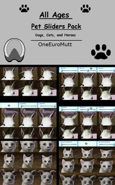Pet sliders pack for dogs, cats and horses by OneEuroMutt - Sims 3 Downloads CC Caboodle