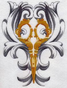 Scissors Flourish design (H6951) from www.Emblibrary.com