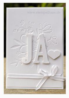 Eine wirklich schnelle Hochzeitskarte mit Letters for you - #JA #Hochzeitskarte mit Framelits #GroßeBuchstaben und Prägefolder #Blütenregen von #Stampin Up #ja #hochzeit #wedding #hochzeitskarte #card #glückwunsch #justmarried #hochzeit #Glückwunschkarte zum schönsten Tag des Lebens