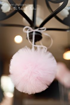 """10"""" Hanging tulle pom poms!  Great for parties and decorating nurseries, children's rooms and playrooms."""