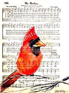 "Cardinal Print of Original artwork  ""My Mother""...Mother's Day coming soon!"