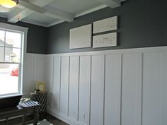 Wainscoting & Foggy Day Sherwin Williams - gray paint color