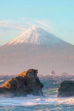 Rough Sea and Mount Fuji, Shizuoka, Japan.  My son climbed to the top of that mountain.  Beautiful photo!