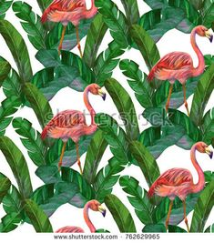 Seamless pattern with tropical leaves and pink flamingos. Tropical watercolor background