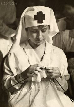 A World War I Era American Red Cross Nurse...I can't believe she has time to knit!