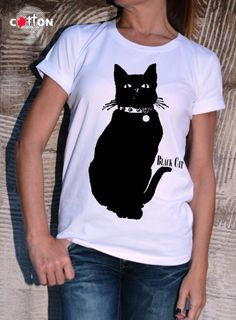Black Cat Cotton Painted T-shirt / Cat Silhouette by Cotton9