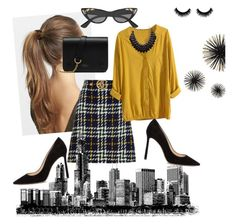 """""""decent and chick ❤"""" by mrunalini-hazari ❤ liked on Polyvore featuring France Luxe, Gucci, Adoriana, Jimmy Choo, Mulberry and iLoveThatSkirt"""