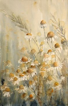 Colors ~ Yellow and Gray daisy watercolor art Watercolor Landscape, Watercolor Flowers, Landscape Paintings, Watercolor Paintings, Watercolors, Watercolor Portraits, Abstract Paintings, Art Floral, Botanical Art