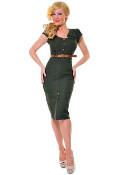 STOP STARING 1940's Style Army Green Sexy Cadet Wiggle Dress  $146.00  Store: Unique Vintage