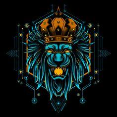 Lion king head mystic vector illustration geometry Premium Vector