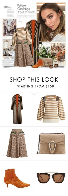 """""""Pattern Challenge: Stripes on Stripes"""" by thewondersoffashion ❤ liked on Polyvore featuring Etro, Sonia Rykiel, N°21, Gucci, TIBI and Kaibosh"""