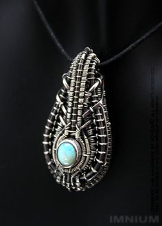 Opal pendant - bezel set & wire wrapped sparkly opal. Mini borg pendant biomechanical Giger hand made wirewrap rainbow gemstone industrial