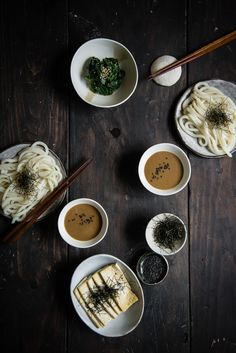 Udon noodles with sesame dipping sauce.