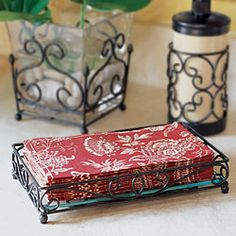 My Vera Bradley guest towels look adorable in this vanity tray by Willow House.