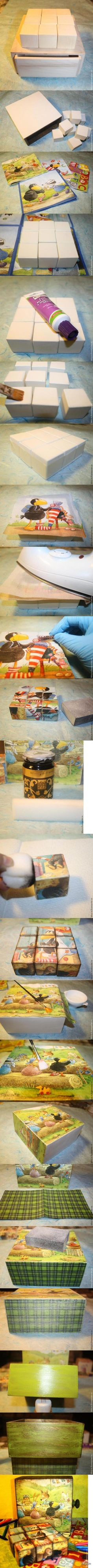 "Декупаж - Сайт любителей декупажа - DCPG.RU | Винтажные кубики ""Детство"" Click on photo to see more! Нажмите на фото чтобы увидеть больше! decoupage art craft handmade home decor DIY do it yourself tutorial Materials and techniques: acrylic paint staining varnish wax etc."