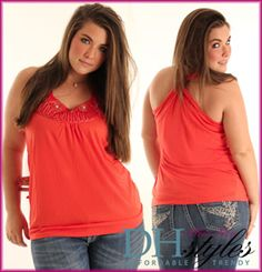 Love the style of the draped racer back tank! Pretty color and neckline embellishments!