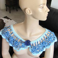 HANDMADE CROCHETED COLLAR SOFT WRAP SCARF BLUE COLORS THREAD ONE OF A KIND ART   Clothing, Shoes & Accessories, Women's Accessories, Collar Tips   eBay!