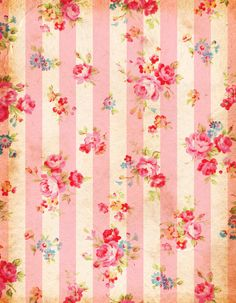 Free shabby paper: pink and blue floral and stripes Papel Vintage, Vintage Paper, Shabby Vintage, Vintage Flowers, Vintage Floral, Shabby Chic Tapete, Scrapbook Paper, Scrapbooking, Shabby Chic Wallpaper