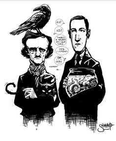 "Pets by Heri-Shinato Edgard Allan Poe and HP Lovecraft. ""Let's talk about this octopus in your fishbowl"" Hp Lovecraft, Lovecraft Cthulhu, Cthulhu Art, Edgar Allan Poe, Kawasaki H2r, Yog Sothoth, Lovecraftian Horror, Horror Fiction, Pulp Fiction"