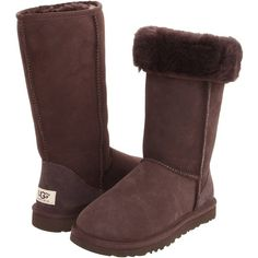 UGG Classic Tall (Chocolate) Women's Boots ($165) ❤ liked on Polyvore featuring shoes, boots, brown, knee-high boots, ugg australia boots, knee high fur boots, slip on boots, long boots and knee high boots