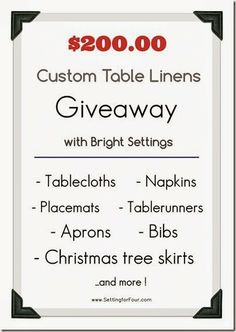 Enter to win $200 Table Linen Giveaway with Bright Settings - Setting for Four
